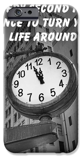 New Attitudes iPhone Cases - City Clock quote-2 iPhone Case by Rudy Umans