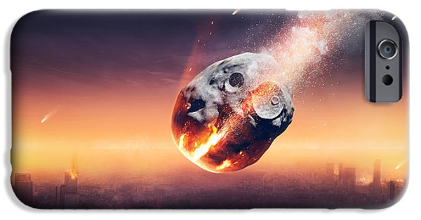 Shower iPhone Cases - City destroyed by meteor shower iPhone Case by Johan Swanepoel