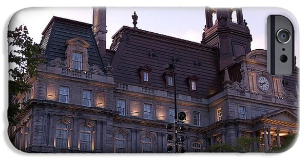 Built Structure iPhone Cases - Montreal City Hall at Sunset iPhone Case by Lingfai Leung
