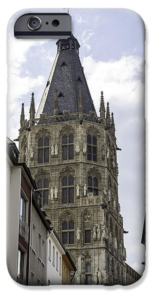 Dining Hall iPhone Cases - City Hall Tower Cologne Germany iPhone Case by Teresa Mucha