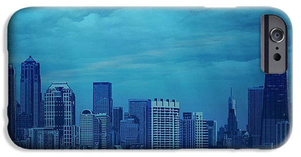 Evening Mixed Media iPhone Cases - City In Blue iPhone Case by Bedros Awak