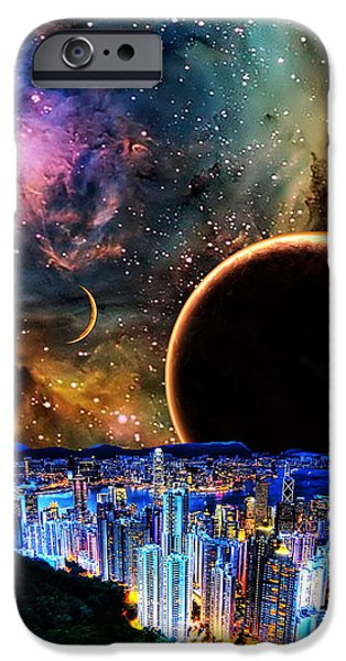 City in Space iPhone Case by BRUCE IORIO