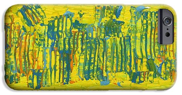 Business Paintings iPhone Cases - City life iPhone Case by Bjorn Sjogren