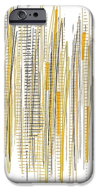 Yellow And Grey Abstract Art iPhone Cases - CIty Life- Yellow And Gray Art iPhone Case by Lourry Legarde