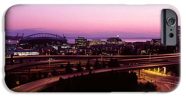 Safeco iPhone Cases - City Lit Up At Dusk, Seattle, King iPhone Case by Panoramic Images