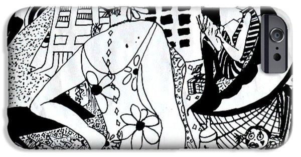 Joyful Drawings iPhone Cases - City Livin Mamma iPhone Case by Leanne Seymour