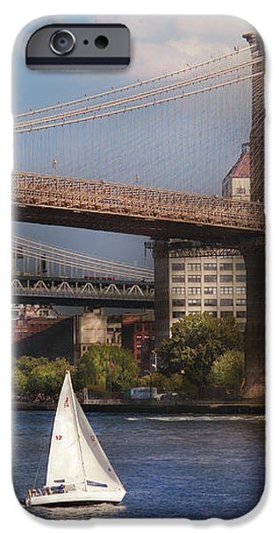 City - NY - Sailing under the Brooklyn Bridge iPhone Case by Mike Savad