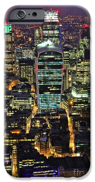 Business Photographs iPhone Cases - City of London Skyline at Night iPhone Case by Jasna Buncic