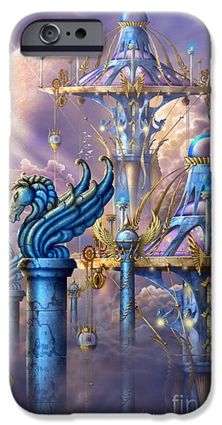Mysterious Digital Art iPhone Cases - City of swords iPhone Case by Ciro Marchetti