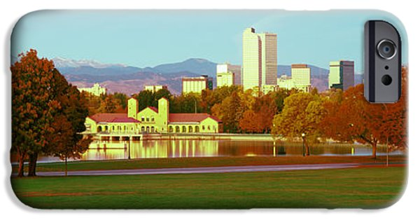 Boathouses iPhone Cases - City Park Lake And Boathouse At Dawn iPhone Case by Panoramic Images