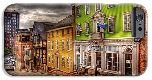 Painter Photographs iPhone Cases - City - Providence RI - Thomas Street iPhone Case by Mike Savad