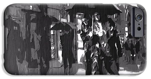 Raincoat iPhone Cases - City Rain iPhone Case by Dan Sproul