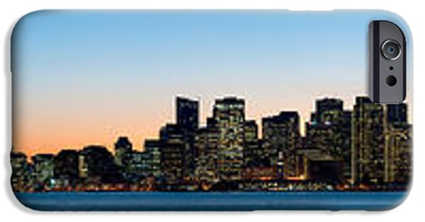 Bay Bridge iPhone Cases - City Skyline And A Bridge At Dusk, Bay iPhone Case by Panoramic Images