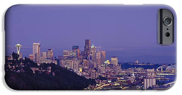 Built Structure iPhone Cases - City Skyline At Dusk, Seattle, King iPhone Case by Panoramic Images