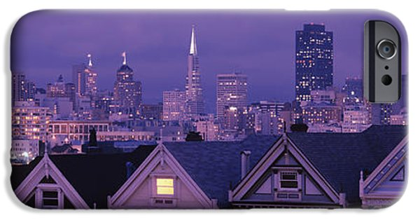 Built Structure iPhone Cases - City Skyline At Night, Alamo Square iPhone Case by Panoramic Images