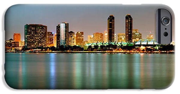 Built Structure iPhone Cases - City Skyline At Night, San Diego iPhone Case by Panoramic Images