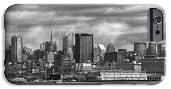 Hudson River iPhone Cases - City - Skyline - Hoboken NJ - The ever changing skyline - BW iPhone Case by Mike Savad