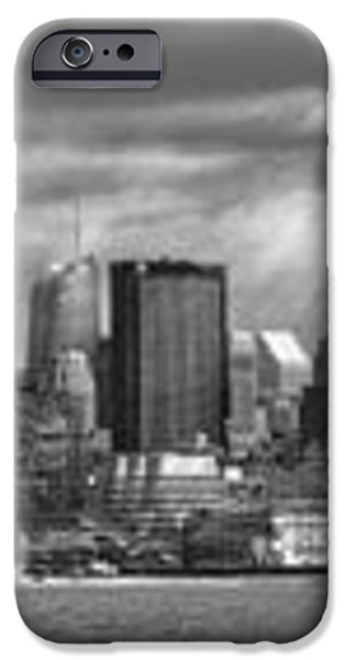 City - Skyline - Hoboken NJ - The ever changing skyline - BW iPhone Case by Mike Savad