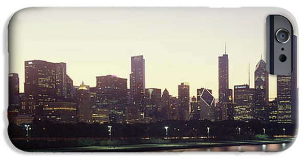Lake Shore Drive iPhone Cases - City Skyline With Lake Michigan iPhone Case by Panoramic Images