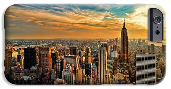 Statue iPhone Cases - City Sunset New York City USA iPhone Case by Sabine Jacobs