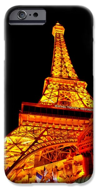 Suburban Digital Art iPhone Cases - City - Vegas - Paris - Eiffel Tower Restaurant iPhone Case by Mike Savad