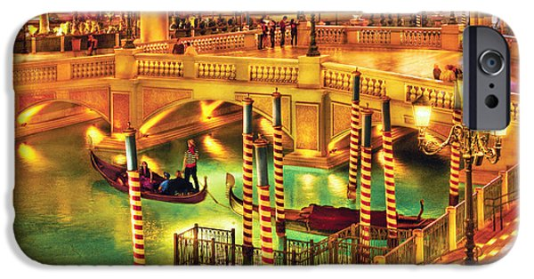Night Lamp iPhone Cases - City - Vegas - Venetian - The Venetian at night iPhone Case by Mike Savad