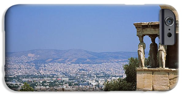 Acropolis iPhone Cases - City Viewed From A Temple, Erechtheion iPhone Case by Panoramic Images