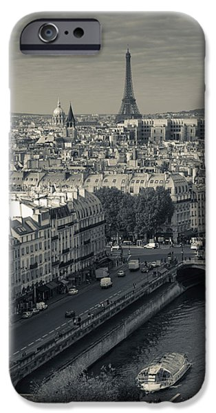 Notre Dame Cathedral iPhone Cases - City With Eiffel Tower iPhone Case by Panoramic Images