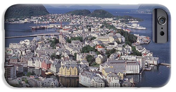 Norway iPhone Cases - Cityscape Alesund Norway iPhone Case by Panoramic Images