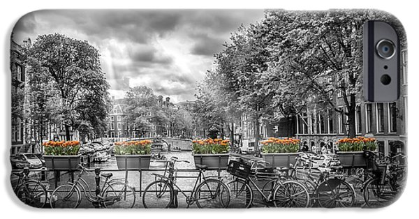 Facade iPhone Cases - Cityscape Amsterdam iPhone Case by Melanie Viola