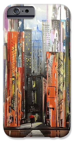 Hong Kong Paintings iPhone Cases - Cityscape ll iPhone Case by Jose Luis Reyes
