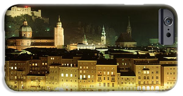 Salzburg iPhone Cases - Cityscape Night Salzburg, Austria iPhone Case by Panoramic Images