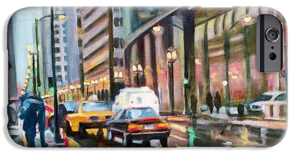 Rainy Day iPhone Cases - Cityscape One iPhone Case by Rebecca Glaze