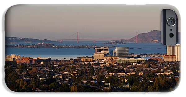 Alcatraz iPhone Cases - Cityscape With Golden Gate Bridge iPhone Case by Panoramic Images
