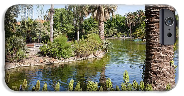 Nature Center Pond iPhone Cases - Ciutadella Park in Barcelona iPhone Case by Artur Bogacki