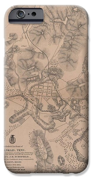 Franklin Drawings iPhone Cases - Civil War Battlefield in front of Franklin Tennessee iPhone Case by Cody Cookston