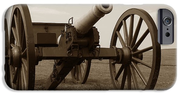 Battery iPhone Cases - Civil War Cannon iPhone Case by Olivier Le Queinec