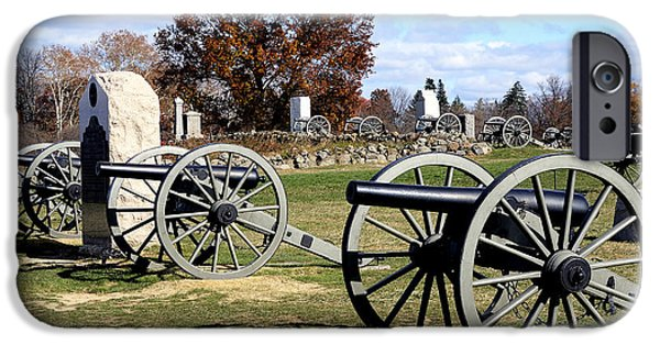 Battlefield Site iPhone Cases - Civil War Cannons at Gettysburg National Battlefield iPhone Case by Brendan Reals