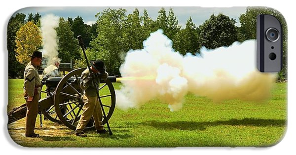 Confederate Hospital iPhone Cases - Civil War Canon Firing  iPhone Case by Bob Sample