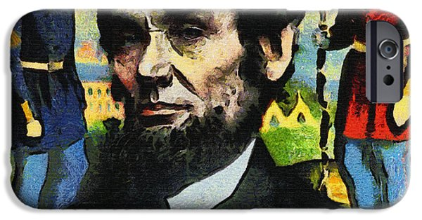 Abraham Lincoln Canvas iPhone Cases - Civil War Lincoln  iPhone Case by Nishanth Gopinathan