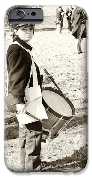 Civil War Re-enactment iPhone Cases - Civil War photo no. 16 The Drummer Boy iPhone Case by Michael Sage Friean