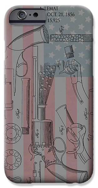 Stars And Stripes Mixed Media iPhone Cases - Civil War Revolver American Flag iPhone Case by Dan Sproul