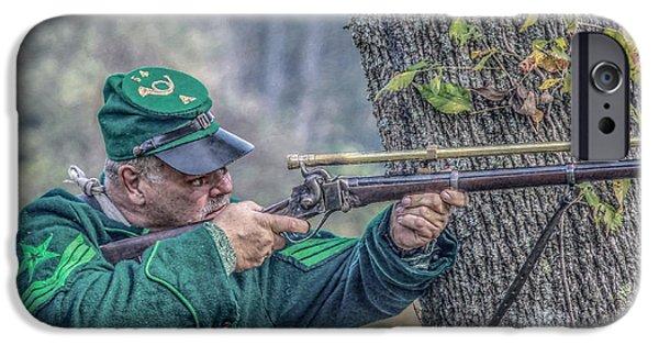 Battle Of Gettysburg Digital iPhone Cases - Civil War Sharpshooter iPhone Case by Randy Steele
