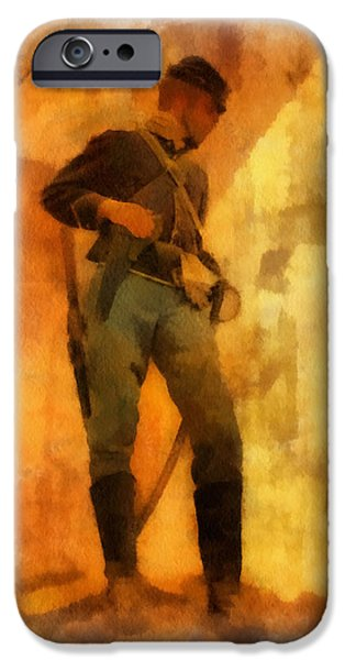 Civil War Re-enactment iPhone Cases - Civil War Soldier Photo Art iPhone Case by Thomas Woolworth