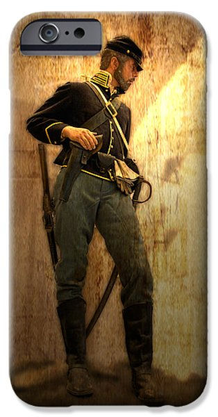 Civil War Re-enactment iPhone Cases - Civil War Soldier iPhone Case by Thomas Woolworth