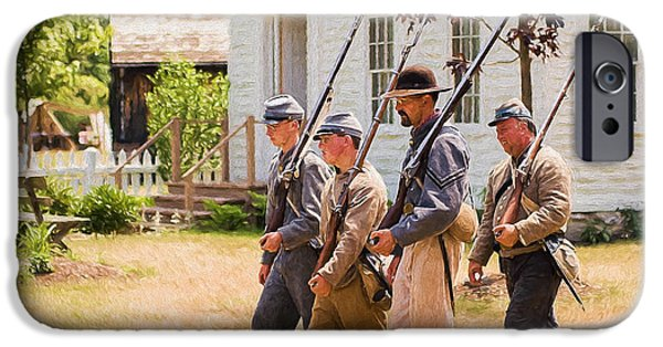 Civil War Re-enactment iPhone Cases - Civil war soldiers marching  iPhone Case by Chris Bordeleau