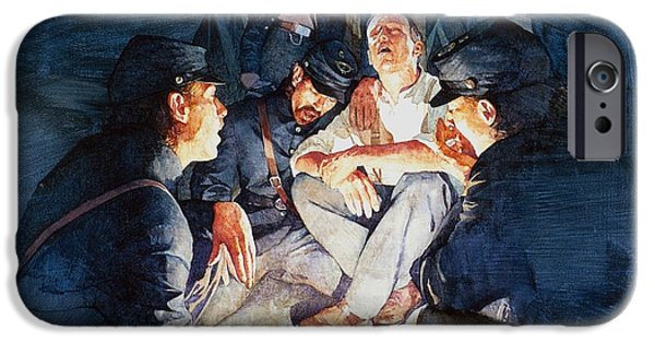 Bonding Paintings iPhone Cases - Civil War Soldiers Singing iPhone Case by Greg Harlin