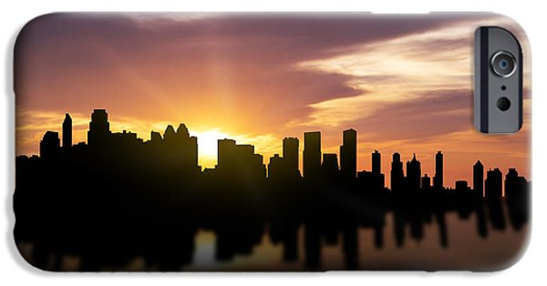 Skyscraper Mixed Media iPhone Cases - Calgary Sunset Skyline  iPhone Case by Aged Pixel