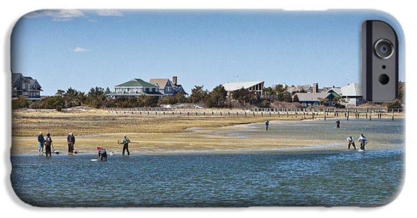 Clammer iPhone Cases - Clammers on Tidal Flats iPhone Case by Dennis Coates