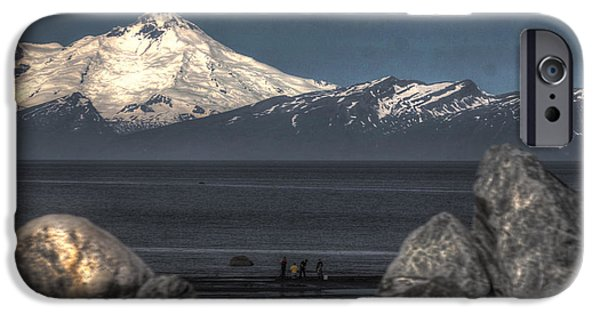 Clammer iPhone Cases - Clamming on the Cook Inlet iPhone Case by David Kehrli